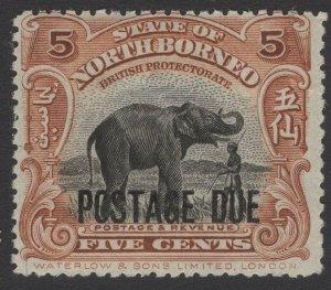 NORTH BORNEO SGD57 1922 5c BLACK & YELLOW-BROWN MNH