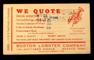US Postal Card #UX27 Preprinted with 1935 Boston Lobster Company Current Rates