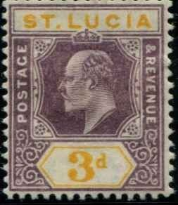 St Lucia SC# 47 Edward VII 3d MH SCV $9.50 with mount