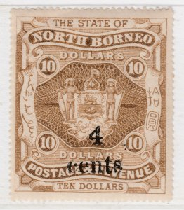 British Colony North Borneo 1904-05 Surcharged 4c on $10 MH* Stamp A22P19F8943
