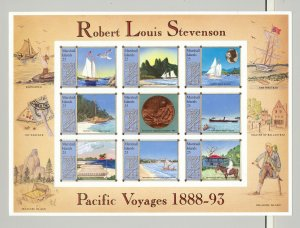 Marshall Islands #190 Robert Louis Stevenson, Ships 1v M/S of 9 Imperf Proofs