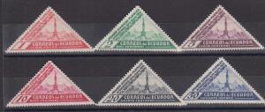 Ecuador Sc 352-357 MNH. 1936 Quito Philex Triangulars, cplt set of postage