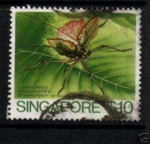 SINGAPORE 1985 $10  GRASSHOPPER  SG 502 FU