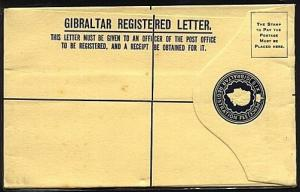 GIBRALTAR QE 6d registered envelope fine used..............................19052