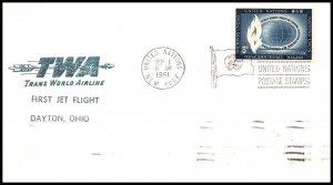 UN New York to Dayton,OH TWA 1961 First Jet Flight Cover