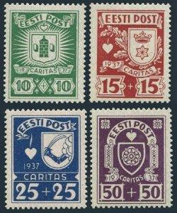 Estonia B32-B35,hinged.Michel 127-130. Arms 1937. Paide,Rakvere,Valga,Viljandi.