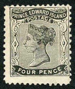 PRINCE EDWARD ISLAND SG24 1862 4d black on yellowish paper perf 11.5-12 x 11