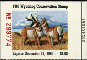 WYOMING #3 1986 STATE DUCK STAMP PRONGHORN ANTELOPE by Dan Andrews
