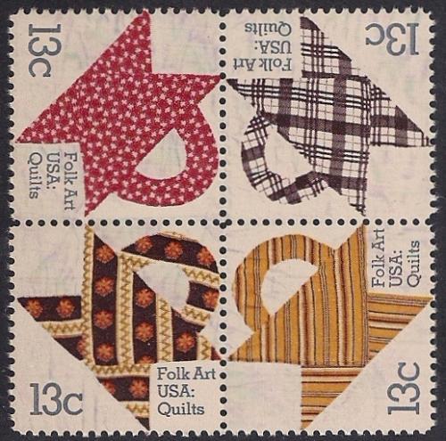 #1745-48 13 cent Folk Art, Quilts, Block of 4 mint OG NH VF