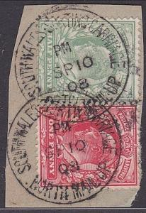 GB 1908 piece SOUTH WALES SORTING CARRIAGE / NORTH MAIL UP cds.............87422