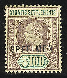 Straits Settlements Specimen Postage Stamp Cat No 104A Mint VLH