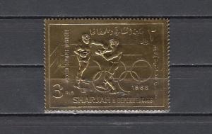 Sharjah, Mi cat. 525 A. Boxing, Olympics Gold Foil issue. ^