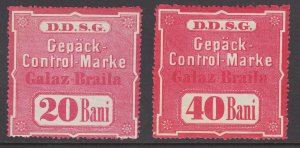Germany, Danube Steam Navigation Austria, 20b & 40b DDSG Fee Stamp, Galaz-Braila