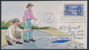 #1012-31 VAR CIVIL ENGINEERING ON FDC HAND PAINTED WRIGHT CACHET BT853