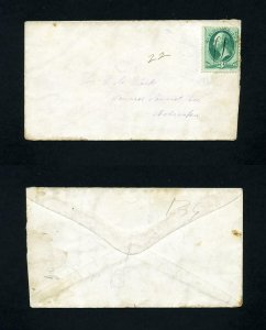 # 147 on cover to Seward, Nebraska from the 1870's