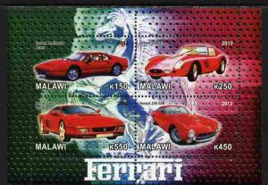 Malawi 2012 M/S Ferrari Racing Cars Classic Car Transport Sports Stamps MNH (1)