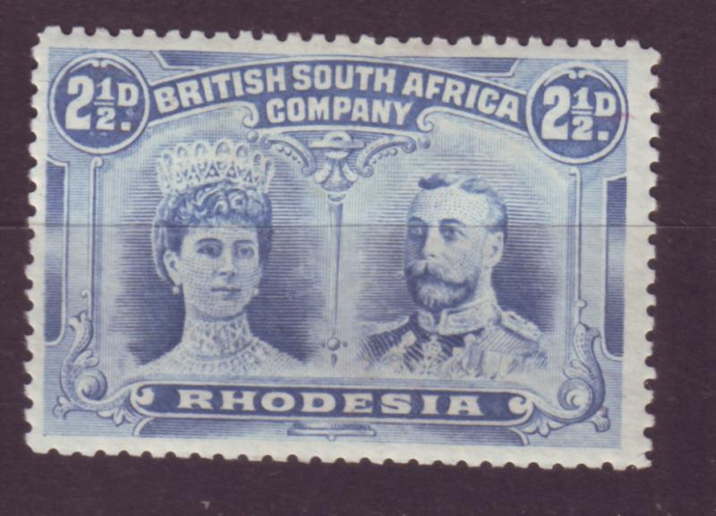 J17092 JLstamps 1910 rhodesia mh #104 king and queen