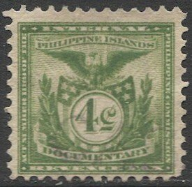 PHILIPPINES 4c green Documentary Revenue stamp, Used F, light cancel