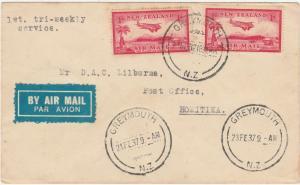 NEW ZEALAND 1937 1ST TRI WEEKLY AIRMAIL SERVICE GREYMOUTH HOKITIKA