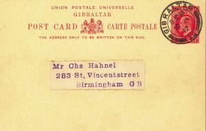 Gibraltar 1d KEVII Postal Card 1912 Gibraltar, 25 to Birmingham, England.  Ph...