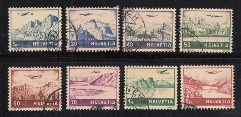Switzerland #C27 to #C34 - Used