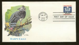 1983 Washington DC - Official Mail Stamp - Harpy Eagle - Fleetwood FDC