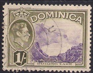 Dominica 1938 - 47 KGV1 1/-d Boiling Lake used SG 106 ( E1247 )