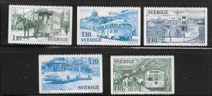 SWEDEN,1220-1224 HINGED, PUBLIC TRANSPORTATION