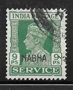 India Nabha O43: 9p George VI, used, F-VF