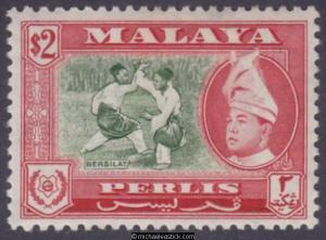 1957 Malaya Perlis $2 Bronze Green & Scarlet, SG 39, MH