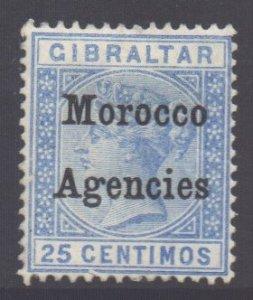 Morocco Scott 15 - SG12, 1899 Gibraltar 25c unused no gum