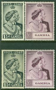 EDW1949SELL : GAMBIA 1948 Sc #146-47 Silver Wedding. 2 sets. Very Fine, Mint NH