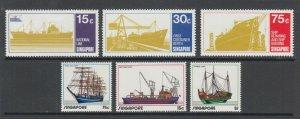 Singapore Sc 126-128, 164-166, MNH. 1970 & 1972 Ships, 2 complete sets, fresh