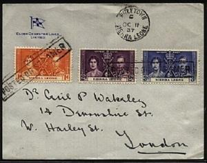 SIERRA LEONE 1937 cover POSTED ON STEAMER..................................19311