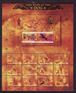 Christmas Is.-Sc#456-unused NH sheet-Chinese New Year of the Dog-2006-
