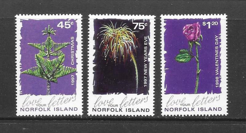 NORFOLK ISLAND - #633-5-GREETINGS STAMPS  MNH