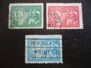 Stamps - Cuba - Scott# 407-409 - Used Set  of 3 Stamps