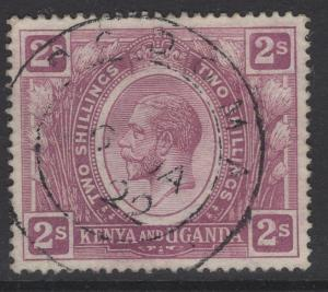 KENYA, UGANDA & TANGANYIKA SG88w 1922 2/= DULL PURPLE WMK CROWN TO RIGHT F.USED