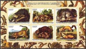 Congo 2005 Animals of North America Sheet of 6 Imperf. MNH Cinderella !