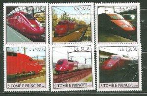 St. Thomas & Prince Islands MNH 1554A-F Various Trains 2003 SCV  9.00