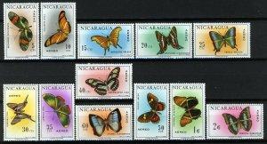 Nicaragua 1967, Butterflies full set MNH, Mi 1434-45