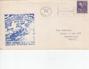 1940, San Juan, Puerto Rico to New York, NY, Prexie, See Remark (26781)