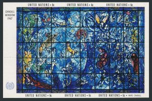 United Nations NY 179 two sheets,MNH. Memorial Window by Marc Chagall.