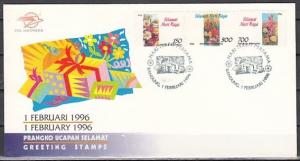 Indonesia, Scott cat. 1635-1637. Greeting Stamps, Orchid shown. First day cover.