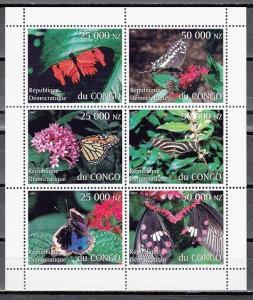 Congo, Dem. 1997 Cinderella issue. Butterflies sheet of 6.