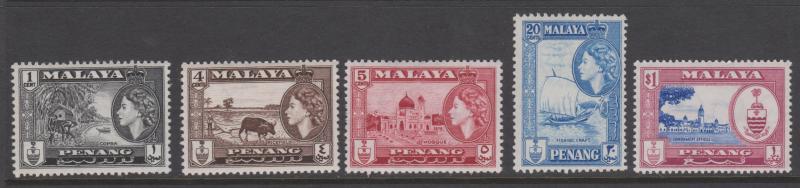 Penang 1957 Scenes Sc#45,47,48,51,53 MNH, MVLH