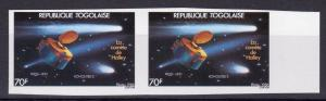 Togo 1986 Sc#1361 HALLEY'S COMET PAIR IMPERFORATED MNH