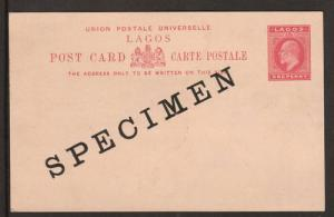 Lagos H&G 9, 1902 1p KEVII SPECIMEN Postal Card