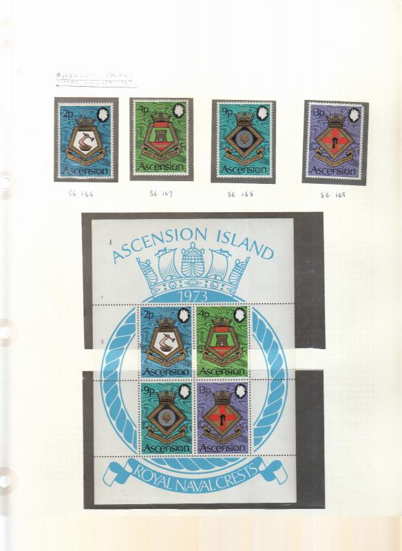 ASCENSION ISLANDS NAVAL CREST STAMPS AND MINI SHEET 5TH SERIES 1973