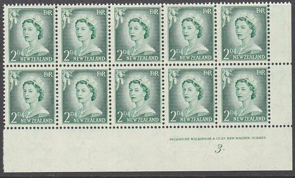 NEW ZEALAND 1955 2d Large Figures plate block # 3 mint.....................1604